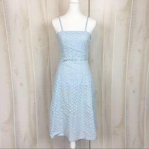 Express Powder Blue Floral Eyelet Midi Dress